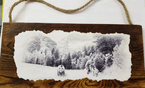 Brown Wash Wooden Pallet Plank of Grizzly Bear strolling thru the forest. Wall decor for office or den.