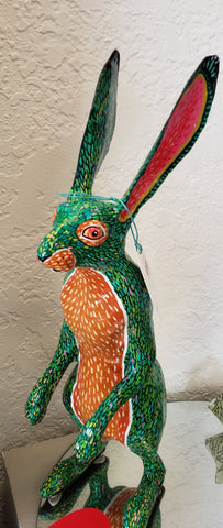 FH-274-FH03 Edie Green Jack Rabbit sculpture full body standing