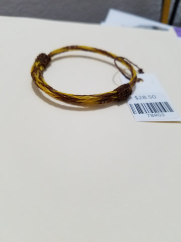 Braided Horsehair Bracelet Adjustable Brown and Gold