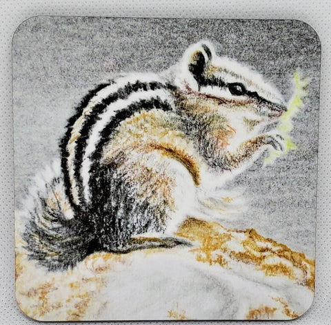 """Lunch Break"" Chipmunk Coaster from Original Art"