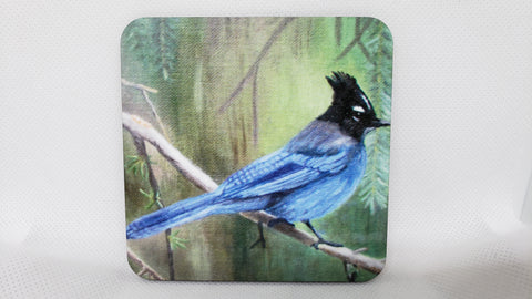 """Balancing Act"" Blue Jay Coaster from Original Art"