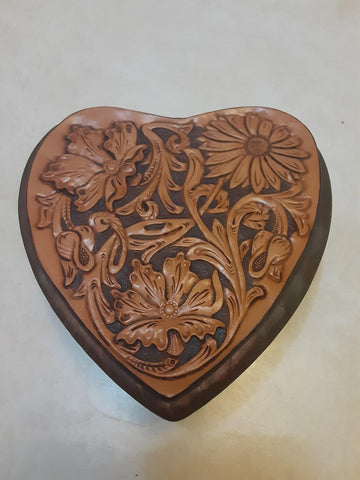 Heart Keepsake Box  with  Leather Top