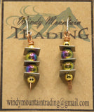 Sterling Silver Trio Rainbow Beads/Copper Accent Wire Earrings