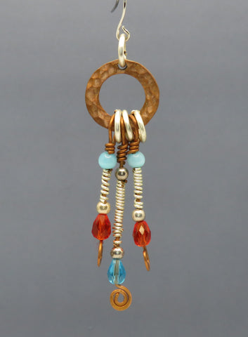 Multi Color Beads/Copper Accent Wire Earrings