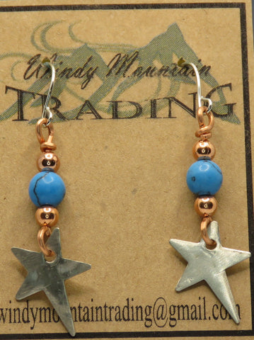 Shooting Star/Sterling Silver Turquoise Bead Earrings
