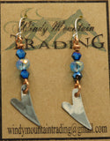 Sterling Silver Heart/Light/Dark Blue Crystal Earrings
