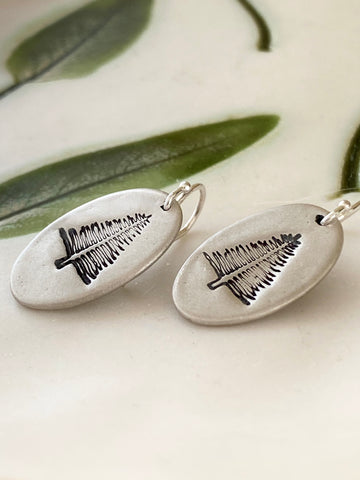 Pine Tree Oval Earrings