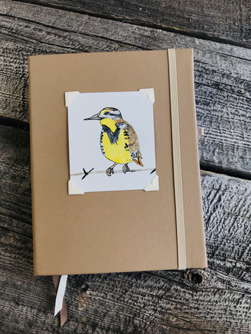 Original Western Meadow Lark Watercolor Painted Bullet Journal