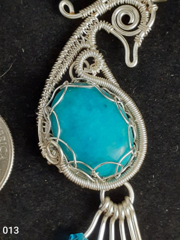 Amazonite Peacock Woven Wire  Wrapped Pendant