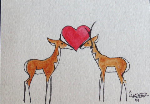 Pronghorn antelope, in love, sharing their heart