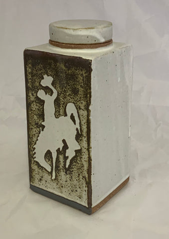 Large  rectangle ceramic lidded jar with bucking horse, Steamboat, the logo of University of Wyoming