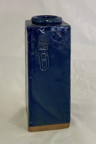 Small Rectangle Ceramic Blue Stoneware Vase With Two Stamps