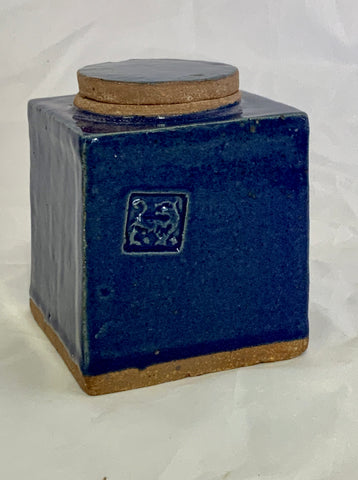 Small Square Ceramic Blue Stoneware Jar With Tiger Stamp