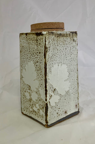 Rectangle Ceramic White With Brown Speckled Stoneware Jar With Leaf Pattern