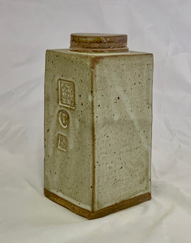 Small Rectangle Ceramic White Stoneware Jar With Three Stamps