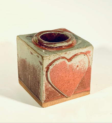 "Grey / Red Square Heart Vase Muffy Moore: Ceramic Potter Grey and red  square vase   Nice size square vase with a heart with grey and red accents  3"" Long  x 3"" Wide x 3"" Tall  Beautiful hand thrown stoneware vase Dishwasher safe  Great for kitchen storage  Please note Items are handmade by Artist and there is a slight variation from piece to piece"
