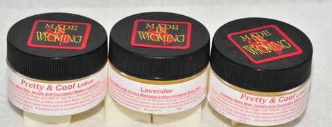 Two-Pretty/Cool Cucumber Melon Scented Lotion, One Lavender Muscle Mint-Massage Lotion Three Pack .5oz Jars