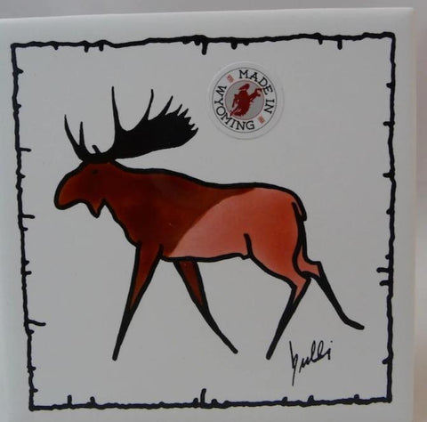 Moose on a tile coaster with barbed wire accent border. Screen printed, original drawing in two colors.