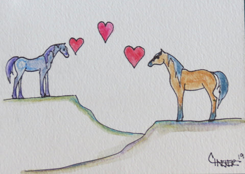 Wild Mustang Horses, in love, across the miles, missing each other. Individually hand drawn