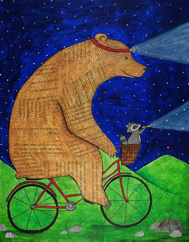 Night Riders:   Bear and Raccoon on a Bicycle Print