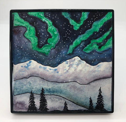 "Northern Lights Miniature Art Artist: Nancy Marlatt Northern Lights Miniature Framed Art is of lights seen to the north of Laramie WY  Picture area is 4"" wide x 4"" Long x .5 thick  The picture is watercolor / ink /acrylic pen a miniature framed  Picture would be great in a den, office or over a fire place, there are a series of the miniature art collect all  Please note, each miniature art piece is hand created by the Artist , with a slight variation between each piece"