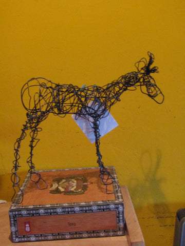 buck pronghorn sculpture from repurposed baling wire.