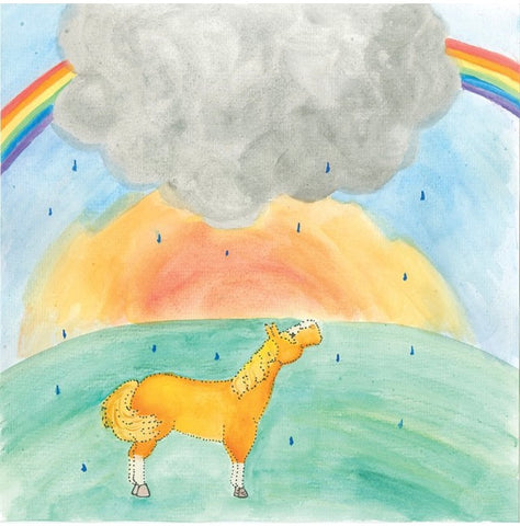 Rusty the Ranch Horse learns about colors and  how a grey cloud can change into a rainbow