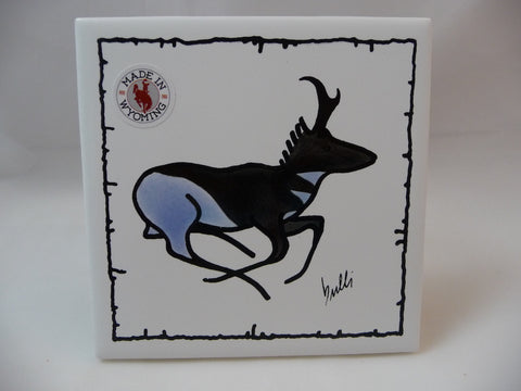 Wildlife big game Pronghorn Antelope on a tile coaster with barbed wire accent. Screen printed original drawing hand painted in two colors.