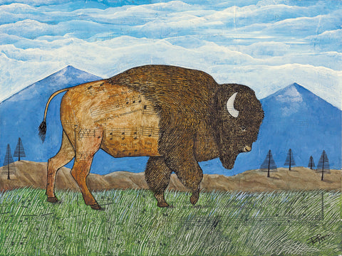 Range roamer Buffalo Bison and Mountains Mixed Media print.