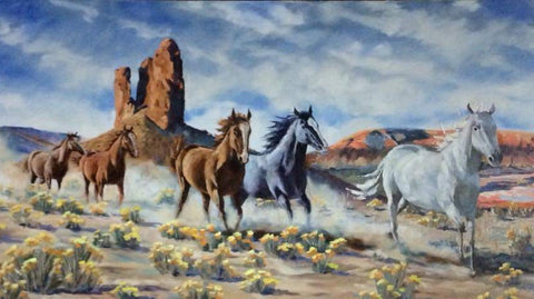 A small band of horses running past the Boar's Tusk rock formation in the Red Desert of Wyoming in this origianl oil painting.