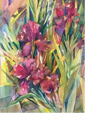 Irises Fine Art Print on Card from Watercolor