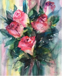 High quality printed card from Artist's original watercolor of a bunch of roses. Can be framed