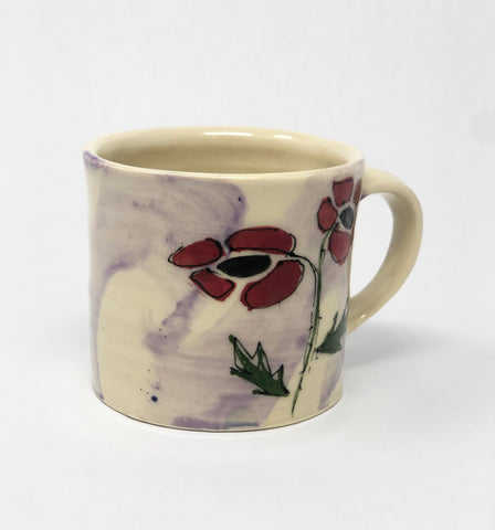 Mug / Purple Wash / Poppy Motif