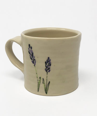 Mug / Green Wash / Lavender Flower Motif