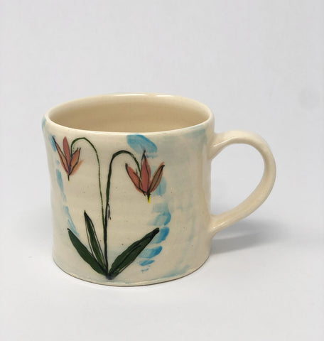 Mug / Blue Wash / Shooting Star Flower Motif