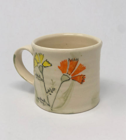 Mug / Green Wash / Marigold Flower Motif