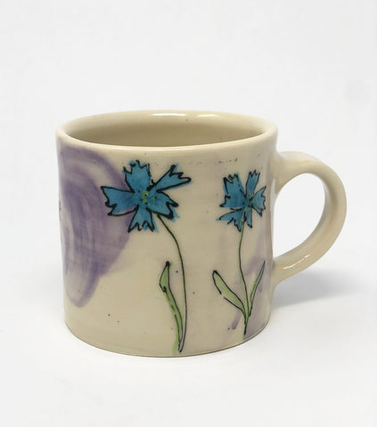 Mug / Purple Wash / Blue Flax Flower Motif