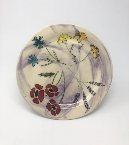 Salad Plate / Purple Wash / Multiple Flower Motif