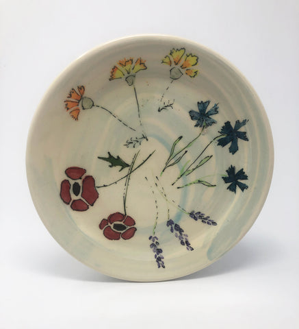 Salad Plate / Blue Wash / Multiple Flower Motif