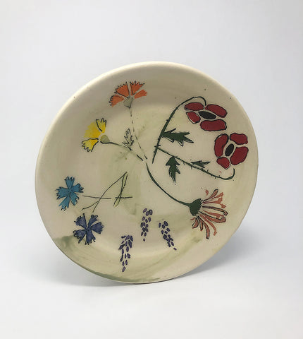 Salad Plate / Green Wash / Multiple Flower Motif