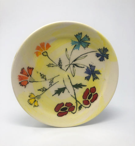 Salad Plate / Yellow Wash / Multiple Flower Motif
