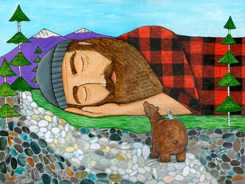 Sawing Logs Print: Sleeping Lumberjack