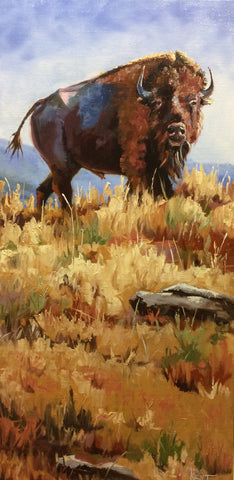 original oil painting of a bison standing watch in the grassland