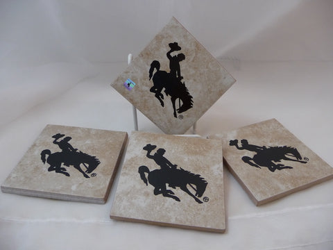 Set of 4 coasters for Cowboy, ranch or rodeo cowboys. Screen printed on floor tiles. The bucking bronco is UWYO's logo