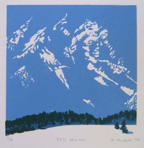 "Relief Print by Ginny Madsen of Tetons, 6"" x 6"" blues and whites"
