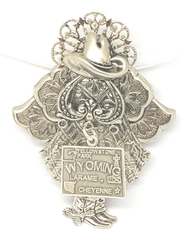 Sassy Wyoming Cowgirl has her angel wings. Silver plated components. Pin