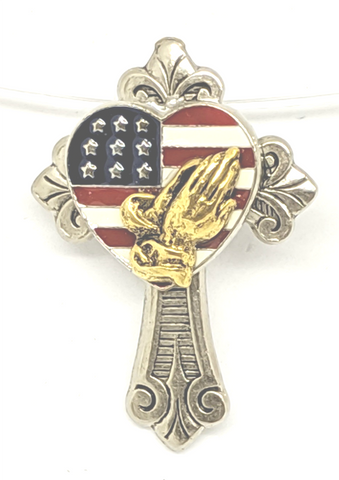 God Bless America, enameled red, white, blue flag in a  heart on a silver and gold plated cross pin.