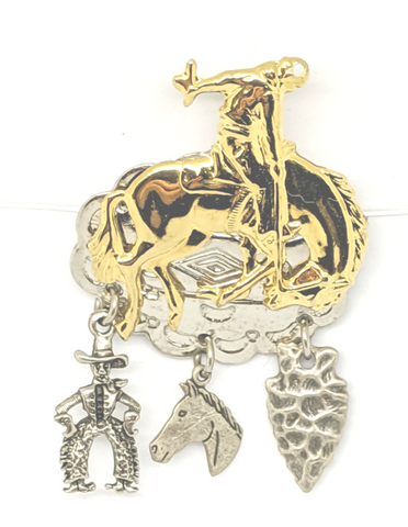 Bucking Bronco riding cowboy label or hat pin. Silver plated cowboy, horse head and arrowhead charmscharms