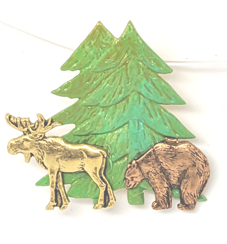 Gold plated moose and copper bear below brass trees.  Perfect accent pin for any outdoors event