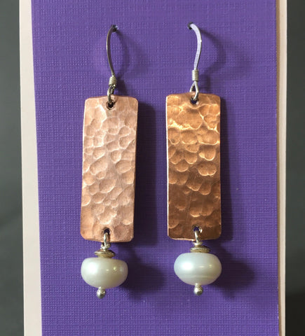 Hammered Copper Rectangles With Pillow Pearls Earrings